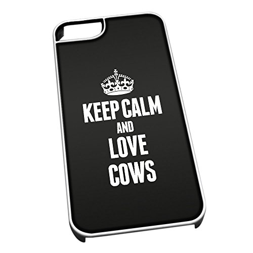 Bianco cover per iPhone 5/5S 2413 nero Keep Calm and Love Cows