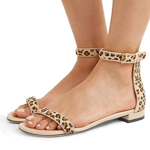 YDN Womens Chic Block Low Heel Sandals with Buckle Solid Ankle Strap Flat Shoes Comfy Leopard 8.5