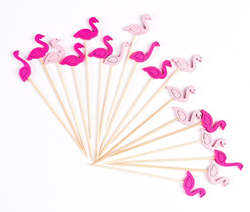 PuTwo 756244668895 Cocktail Picks Handmade Bamboo Toothpicks Pink Flamingo in 100 Counts, 100ct in 4.7