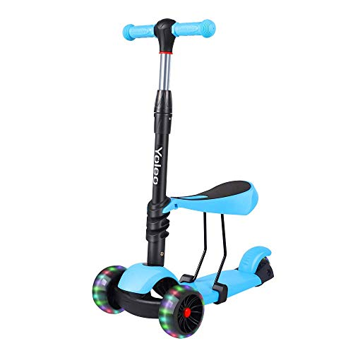 TONBUX Kids Toddlers Scooter 3 in 1 Adjustable Height Scooters with 3 Wheel Glider and PU Flashing Wheels Wide Deck for Girls & Boys Ages 2-8 (Blue) ()