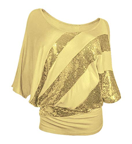 Poem&Future Women's Sparkly Sequin Blouse Scoopneck Batwing Sleeve Glittery Tank Tops Bling Costume T-Shirts (XXL, Yellow Color) ()
