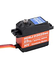 RC Servo, 1/10 1/8 Impermeable Torque Alta Velocidad 25KG Digital Metal Gear RC Servo Motor para RC Truck Racing Off-Road Coche