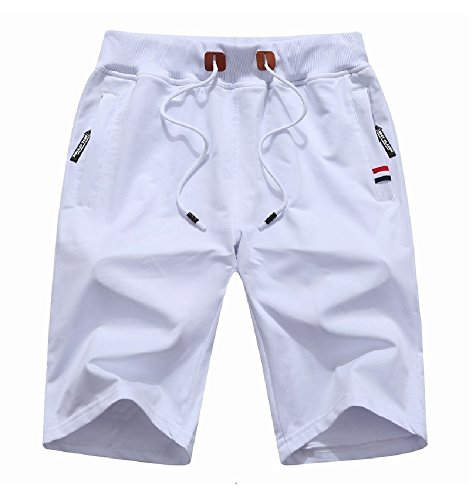 MO GOOD Mens Casual Shorts Workout Fashion Comfy Shorts Summer Breathable Loose Shorts (White, US (34-35)) by MO GOOD