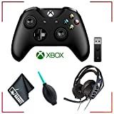 Microsoft Xbox Wireless Controller + Adapter for Windows 10 + RIG 500HX Headphones and Accessories