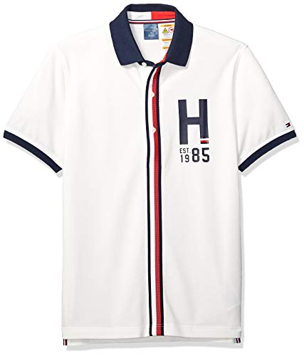 (Tommy Hilfiger Men's Polo Shirt with Magnetic Buttons Custom Fit, Snow White/Multi Medium)