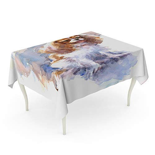 Tarolo Rectangle Tablecloth 52 x 70 Inch Animal Watercolor Cavalier King Charles Spaniel Portrait Hand of Dog Pet Artistic Baby Beautiful Table Cloth