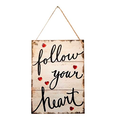(Follow Your Heart Hanging Wooden Heart Hanging Sign Plaque for Valentine's Day Wedding Bedroom livingroom Dining)