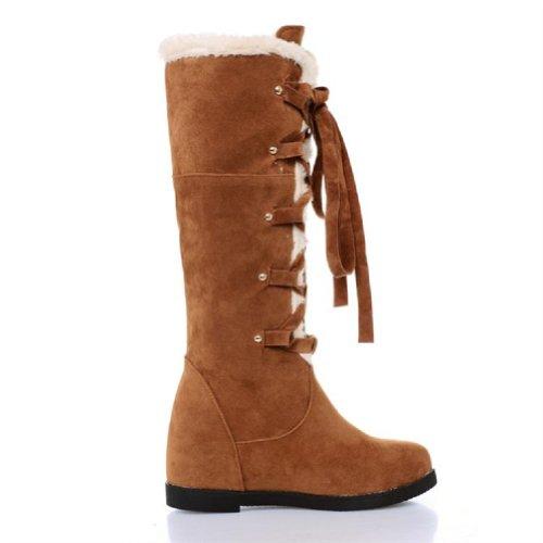 Charm Winter High Foot Knee Low Boots Sweet Snow Boots Heel Womens Khaki qYOraqwg