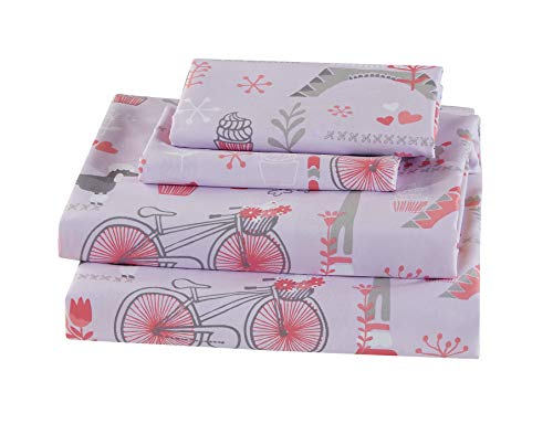 (Luxury Home Collection Kids 3 Piece Twin Sheet Set Paris Eiffel Tower Hearts Bicycle Poodle Cupcake Pink Grey #ParisRose (Twin Sheet))