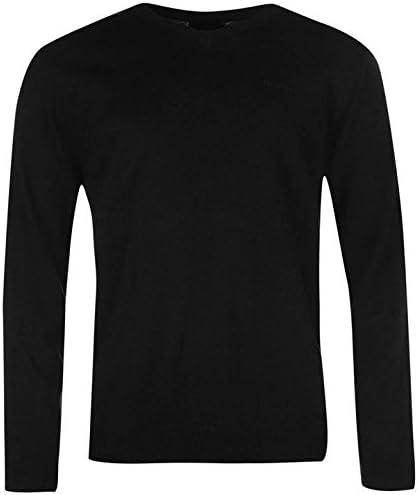 Pierre Cardin Cuello en V Knit Jumper Mens Negro Sudadera Pullover Top