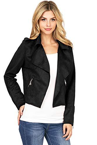 (Haute Monde Women's Casual Faux Suede Moto Jacket (S, Black))