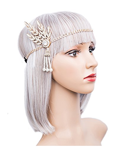 Art Deco 1920s Flapper Great Gatsby Leaf Wedding Bridal Tiara Pearl Headpiece Headband(gold) -