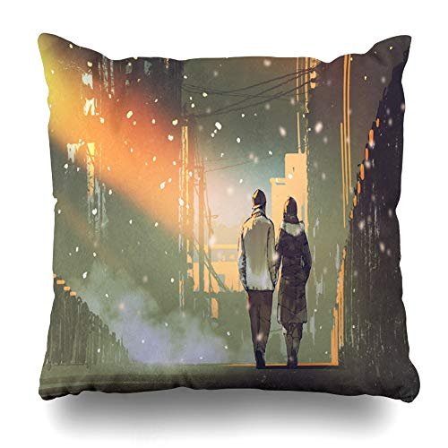 - Ahawoso Decorative Throw Pillow Cover Snow Watercolor City Couple Love Walking On Street Parks Painting Home Decor Pillowcase Square Size 16