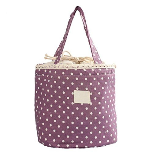 Lunch bag,Thermal Insulated Lunch Box Tote Cooler Bag Bento Pouch Lunch Container Duseedik Off Promotion (Purple)