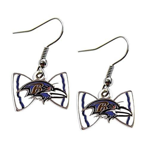 Bow Tie Logo Dangle Earrings (Sports Team Baltimore Ravens Bow Tie Dangle Earring Set)