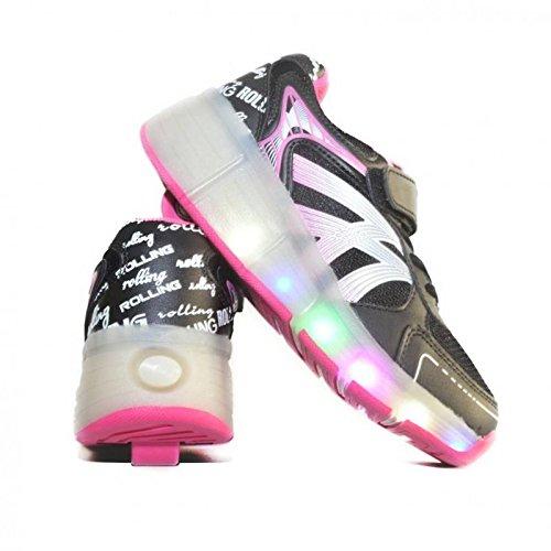 Envio 24H Usay like Zapatillas Con Ruedas Color Negra/Rosa Para Niña Chica Talla 30 hasta 38 Envio Desde España: Amazon.es: Zapatos y complementos