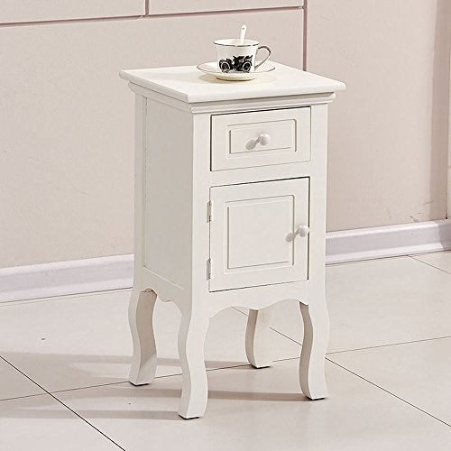 OSPI 1 Drawer Vintage White Color Wooden Tall Slim Bedside Cabinets / Night Stand / Units / Bedside tables with 1 cupboard (1 Bedside Cabinet)