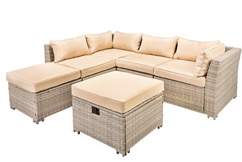 Pamapic 6pcs Outdoor Patio Furniture Set, PE Rattan Wicker Sofa Sectional Furniture Set Storage Box Function Sofa Set (Beige rattan and cushions) ()