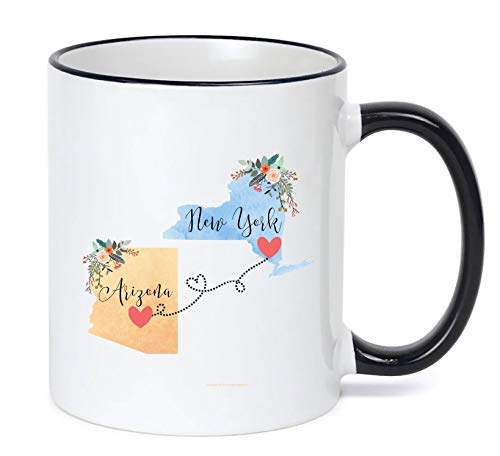 New York Arizona Mug State to State Coffee Cup Gift Two State Mug Best Friend Mom Girlfriend Aunt Grandma Birthday Mother's Day Going Away Present Moving New Job Gifts