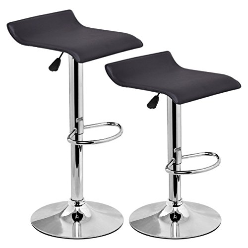 Costway Modern PU Leather Barstools Swivel Seat Air Lift Adjustable Height Counter Swivel Bar Stools Counter Chair Contemporary Chrome Furniture Multi-color Set of 2 (Black)