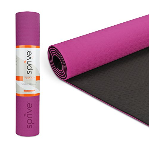 Live Well Bag (Sprive Dual Color TPE Mat (6mm) for Yoga, Pilates, Burpee, Core Exercises, Health, Fitness, Interval Training. Extra length and width 72