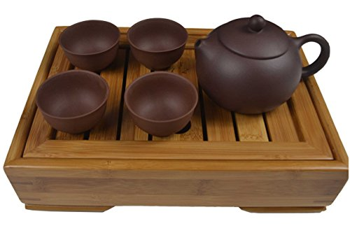 Chinese Yixing Purple Clay Handmade Tea Pot Zisha (Comprised of One Tea Pot ,4 Tea Cups and a Tea Tray) (2)