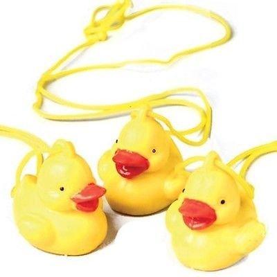 lot 6 Fun Rubber Duck Ducky Necklaces Party Favors bird toy luau baby bath tub - Luau Rubber