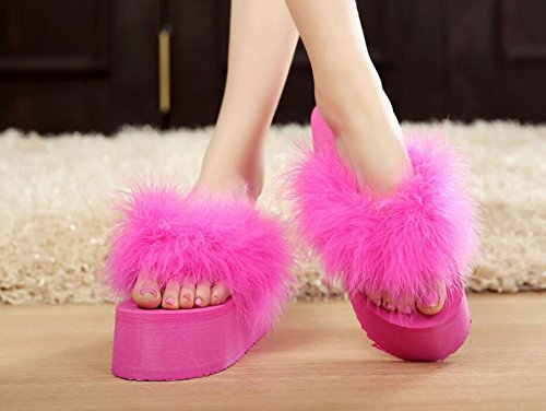 HGTYU-The New Korean Version Of The Female Ostrich Feathers Thick Hair The Fields And The Slope Sponge Cake With Slippers Beach 38 WEMmSSNQfD