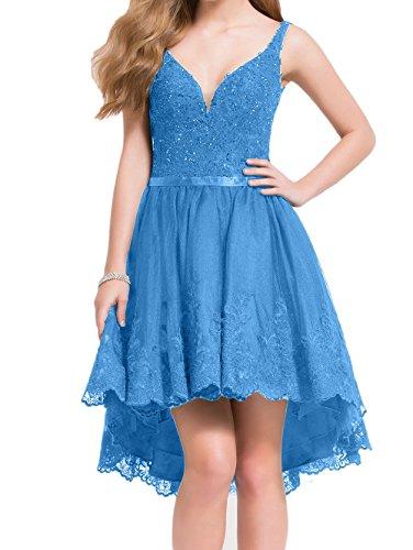 Partykleider La Rock mia Blau Linie Spitze Abschlussballkleider Abendkleider Traube Neu Braut Kurzes Hi A lo Promkleider OOvrw
