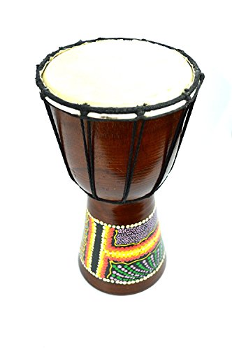 DJEMBE-DRUM-BONGO-HAND-CARVED-AFRICAN-ABORIGINAL-DOT-ART-DESIGN-by-Bethlehem-Gifts-TM