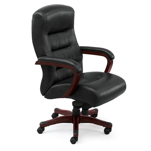Vista Collection Faux Leather Executive Chair Black Faux Leather/Brunette Finish