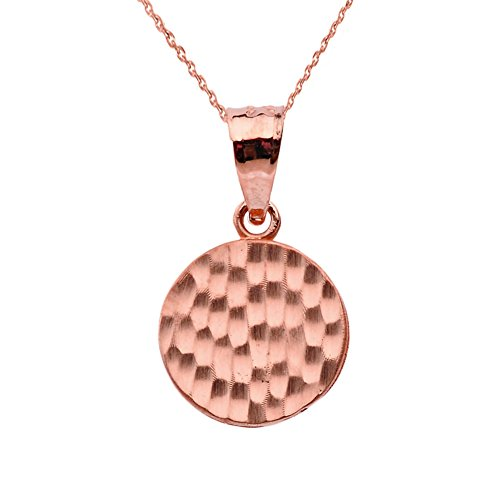 Fine 14k Rose Gold Love Hammered Round Charm Pendant Necklace and Earring Set, 18'' by Claddagh Gold (Image #1)