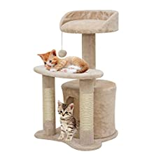 67i Cat Tree with Scratching Posts with Natural Sisal Scratching Posts Cozy Plush Condos Large Platform Sisal Posts Tree Cat Activity Tree Kitty Pet Play House for Small Cat (Beige)