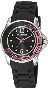 Custo on time cu067601–Reloj de pulsera de mujer, correa de silicona color negro