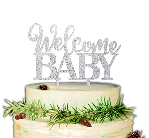 Welcome Baby Cake Topper for Baby Shower or Gender Reveal Party Decorations (Silver)