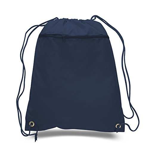 ((12 Pack) Set of 12- Economical Drawstring Polyester Backpack with Front Pocket)