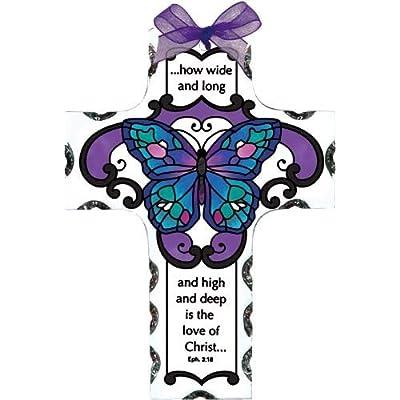 Joan Baker Designs Blue Butterfly Love of Christ Cross Stained Glass Suncatcher (SX2014R) : Garden & Outdoor