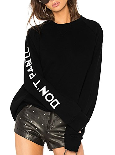 Boxy Fashion (Oyanus Womens Casual Long Sleeve Tops V-Notch Crewneck Loose Pullover Sweatshirt Black XL)