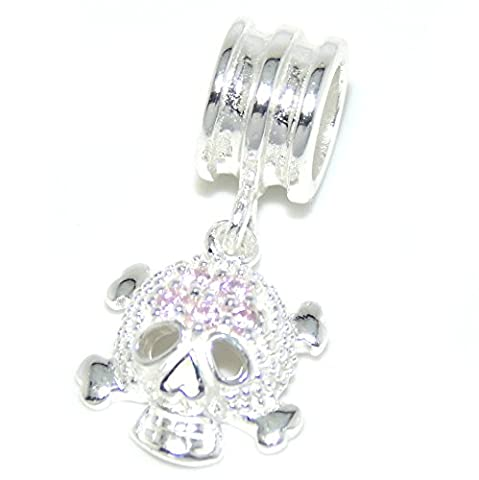 Pro Jewelry 925 Solid Sterling Silver Dangling Skull and Crossbones with Pink Crystals Charm Bead - Crossbones Slide Charm