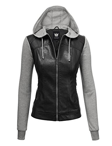 - Lock and Love LL WJC1347 Womens Faux Leather Zip Up Moto Biker Jacket with Hoodie XS Black_H.Grey