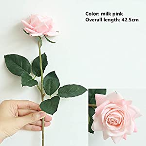 Rose Artificial Flowers,Pack of 9 Home Decoration Wedding Realistic Fake Flowers (Milk Pink) 88