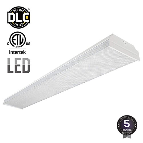 Around Light Fluorescent Wrap (LEONLITE 40W 4FT LED Wraparound Garage Shop Light Flush Mount Ceiling Light, 100W Equiv. Ultra Bright 4000lm, Daylight 5000K)