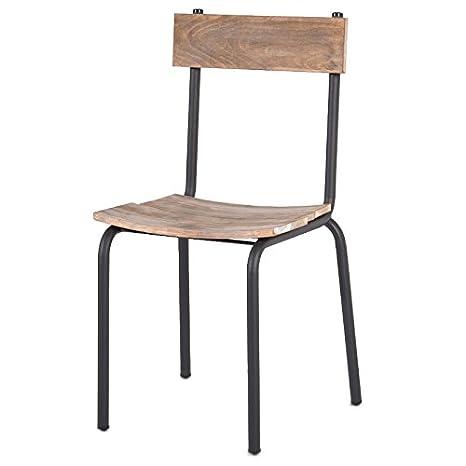 Sedie Metallo E Legno.Indhouse Sedia Scuola Vintage Decorazione Di Stile Industriale In