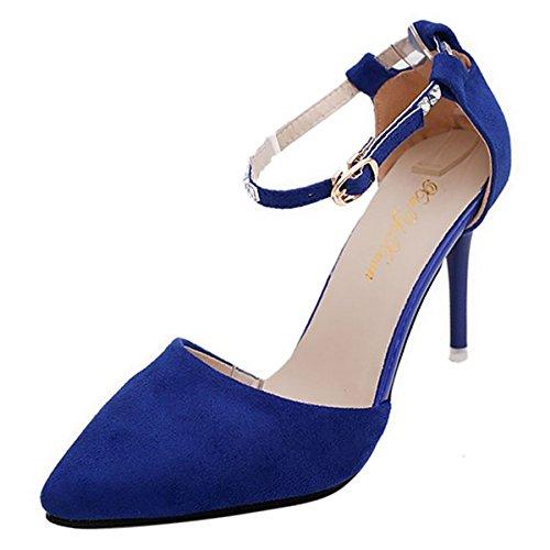 DIMAOL Chaussures Femmes de Confort Cachemire Automne Talons Talon Chaussures Occasionnels de Strass Bleu Rouge Noir Violet Fuchsia,Bleu,US5.5/EU36/UK3.5/CN35