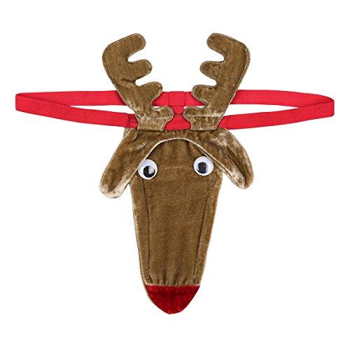 d87990379 FEESHOW Mens Santa Hat Design G-String Thongs Fantasy Novelty Gift Secret  Santa Bikini Xmas Christmas Posing Pouch Thong