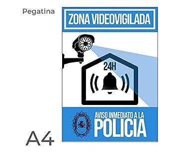 Opinión sobre Pegatina alarma disuasoria color azul Apto para uso exterior. Diseño carteleria disuasoria para alarmas, cámaras de vigilancia. Evitar robos con cartel antes de entrar a robar