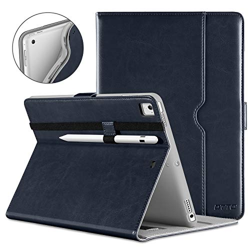 DTTO New iPad 9.7 Inch 5th/6th Generation 2018/2017 Case with Apple Pencil Holder, Premium Leather Folio Stand Cover Case for Apple iPad 9.7 inch, Also Fit iPad Pro 9.7/Air 2/Air - Blue(Grey Lining)