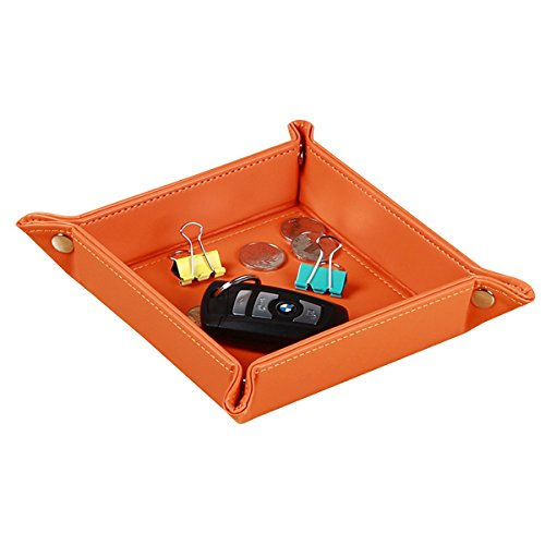 YAPISHI Nightstand Organizer Bedside Decorative Jewelry Tray Desktop Storage Bowl Entryway Valet Tray for Keys Wallet Dice Coins Change Watch Candy, Beside Table Sundries Holder Catchall Dish (Orange)