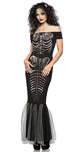 Skeleton Mermaid Costume Women's Goth Siren GID Top Skirt Headpiece XS-XXL - Halloween Costume Black Skirt White Top