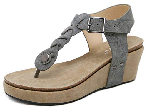 DolphinGirl Fancy Platform Flip-Flops Classy & Stylish Weaved String Embellishments - True to Size Comfort Walking Beach Vacation Cruise Holiday Flattering to Leg, Classy Muted Grey Patent Leather